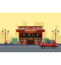Outside view cafe car and bicycle outide vector