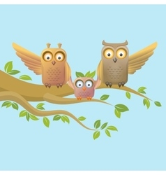 Owl happy family vector