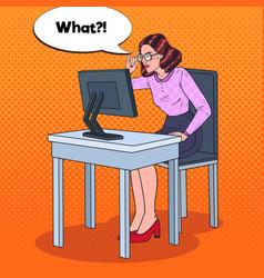 Pop art weak-eyed woman working at the computer vector