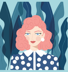 Portrait a girl with pink hair vector