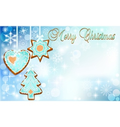 Postcard with cakes on Christmas vector