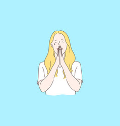 Praying asking for god help concept vector