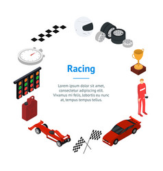 racing sport banner card circle isometric view vector image