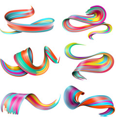 Realistic colorful brush strokes set vector