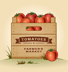 Retro crate of tomatoes vector image