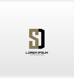 Sd initial letter minimalist art logo vector