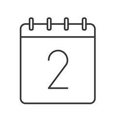 Second day month linear icon vector