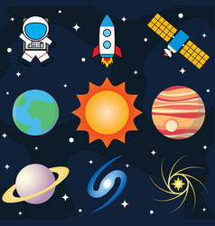 set of planets and space vector image