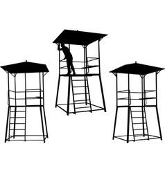 silhouettes watchtowers vector image
