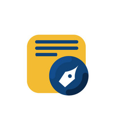 simple memo and pen button application icon and vector image