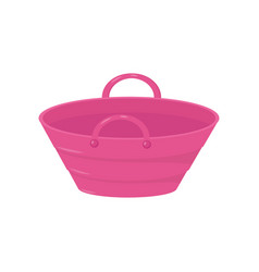 small bright pink bucket with two handles plastic vector image