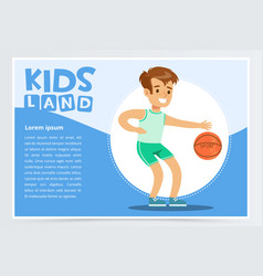 Smiling sportive boy playing basketball kids land vector