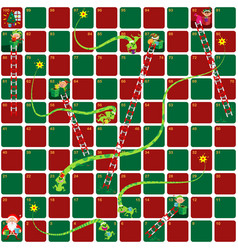 Snakes and ladders game christmas version vector