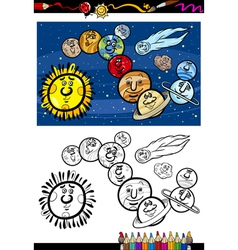 Solar system cartoon coloring book vector