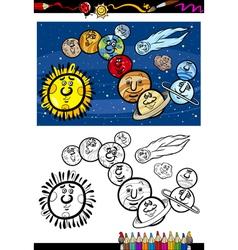 solar system cartoon coloring book vector image