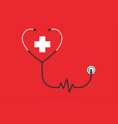Stethoscope in shape a heart with pulse vector