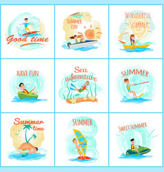Summer fun and good fun set vector