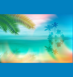 summer sea with island and palm trees vector image