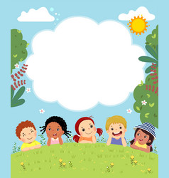 template with happy kids laying on grass vector image