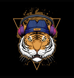 tiger headphone vector image