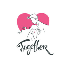 together romantic love logo vector image