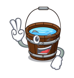 two finger wooden bucket character cartoon vector image