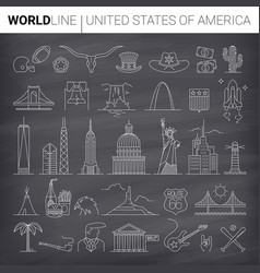 us line icons vector image