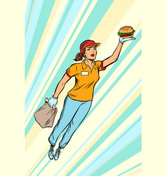 waitress burger fast food delivery flying vector image