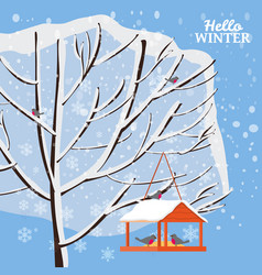 winter snow landscape bird feeder with feed vector image