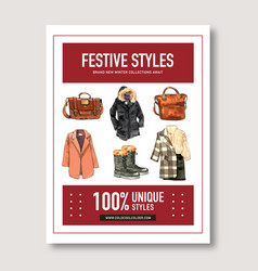 Winter style poster design with boots bag coat vector