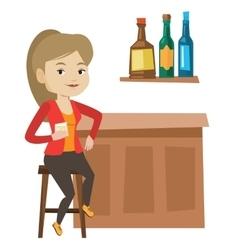 Woman sitting at the bar counter vector
