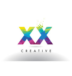 Xx x x colorful letter origami triangles design vector