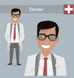 Young happy doctor glasses vector