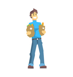 young man carrying two bags with food products vector image