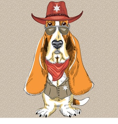 Basset Hound breed clothing sheriff vector image