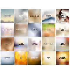 big set of 20 square blurred nature white vector image vector image
