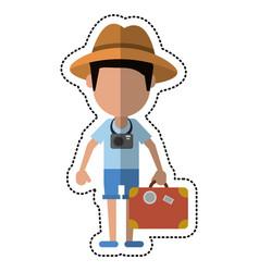 cartoon tourist man photographic camera and vector image