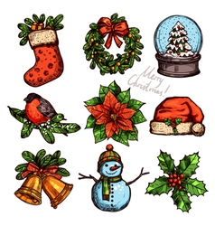 Christmas Color Sketch Collection Of Attributes vector image vector image