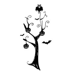monochrome background halloween tree with pumpkins vector image