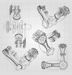 various engine components pistons chains vector image