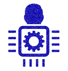 cyborg processor icon grunge watermark vector image