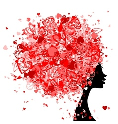 Female head with hairstyle made from tiny hearts vector image