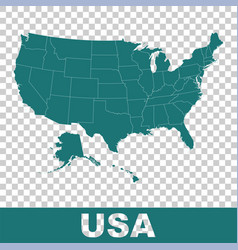 high detailed map - united states usa flat vector image