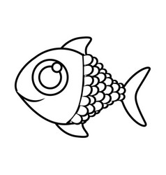 monochrome silhouette of fish with big eye vector image vector image