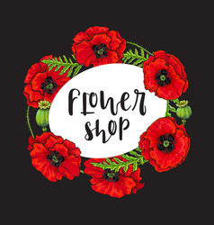 red poppy flower blossom blooming template vector image vector image
