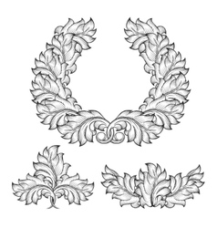 Vintage baroque floral leaf scroll ornament vector image vector image