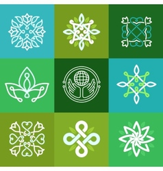 abstract ecology symbols - outline emblems vector image