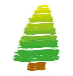 Brush stroke color pine tree art image vector