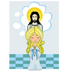 Cute little girl Praying to Jesus vector image vector image