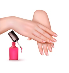 Female young hands with a pink nail polish bottle vector image